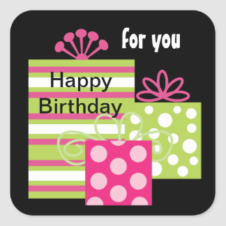 Modern Birthday Gift Tag Stickers