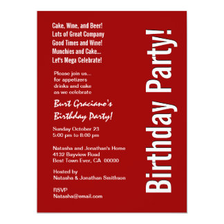 Modern Birthday Party Red and White LARGE Template Card
