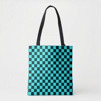 Modern Black and Aqua Blue Checkerboard Pattern Tote Bag