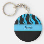 Modern Black and Blue Zebra Personalised Keychain