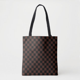 Modern Black and Brown Checkerboard Pattern Tote Bag