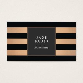 Modern Black and Copper Striped Interior Designer