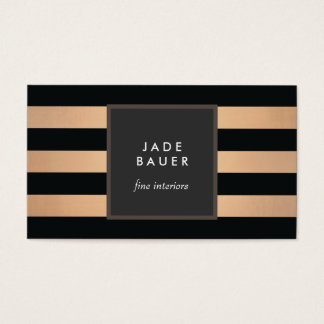 Modern Black and Copper Striped Interior Designer Business Card