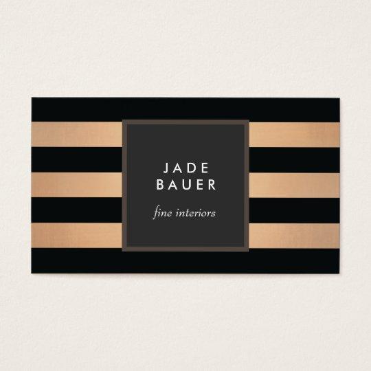 Modern Black and Copper Striped Interior Designer Business