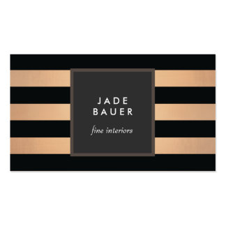 Modern Black and Copper Striped Interior Designer Pack Of Standard Business Cards