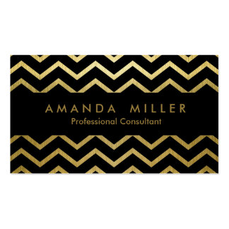 Modern Black and Gold - Zig Zag Art Business Pack Of Standard Business Cards
