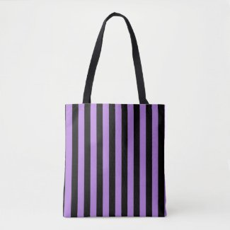 Modern Black and Lavender Purple Stripe Pattern Tote Bag