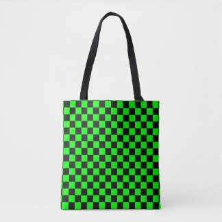 Modern Black and Lime Green Checkerboard Pattern Tote Bag