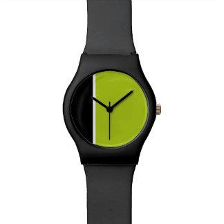 Modern black and lime green minimalist watch