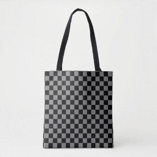 Modern Black and Medium Gray Checkerboard Pattern Tote Bag