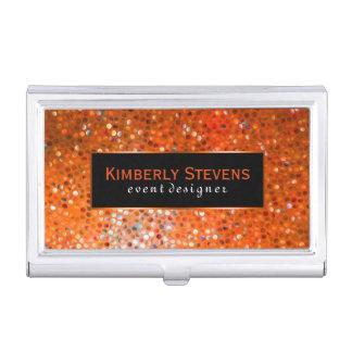 Modern Black And Orange Glitter & Sparkles Business Card Holder
