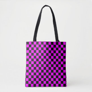 Modern Black and Pink Checkerboard Pattern Tote Bag