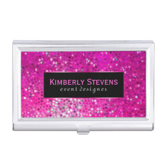 Modern Black And Pink Glitter & Sparkles Business Card Holder
