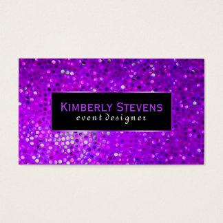 Modern Black And Purple Glitter & Sparkles Business Card
