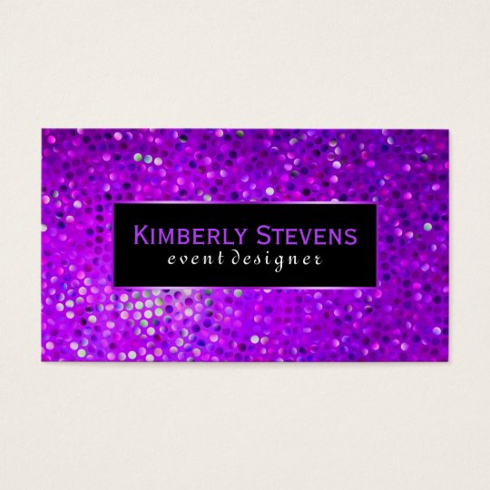 Modern Black And Purple Glitter & Sparkles Business
