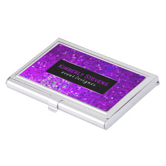 Modern Black And Purple Glitter & Sparkles Business Card Holder
