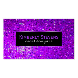 Modern Black And Purple Glitter & Sparkles Pack Of Standard Business Cards