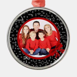 Modern Black and Red Christmas Custom Photo Christmas Ornament