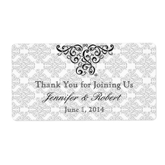 Modern Black and Red Damask Water Bottle Label