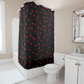 Modern Black And Red Dot Style Pattern Shower Curtain