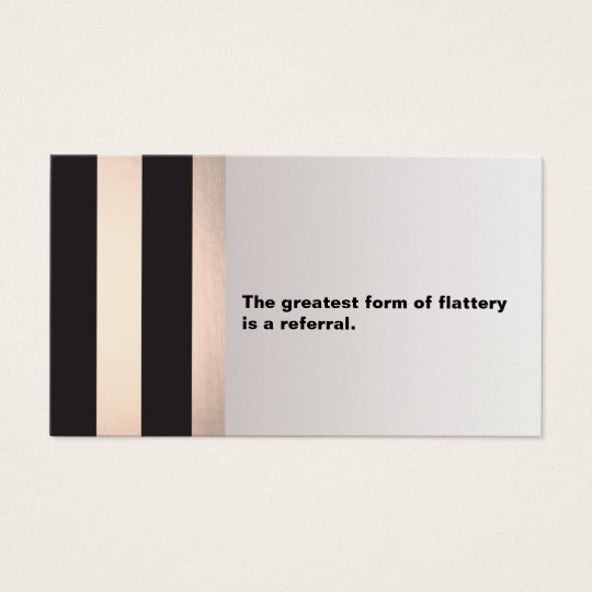 Modern Black and Rose Gold Customer Referral Card