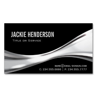 Modern Black and Silver Professional Stylish Magnetic Business Cards
