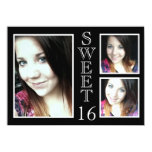 Modern Black and White 3 Photo Sweet 16 Personalised Announcement