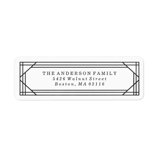 Modern Black and White Art Deco | Holiday Return Address Label