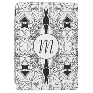 Modern Black and White Artwork with Monogram iPad Air Cover