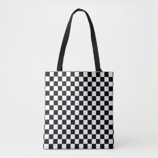 Modern Black and White Checkerboard Pattern Tote Bag