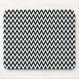Modern Black and White Chevron Stripes Mouse Pad