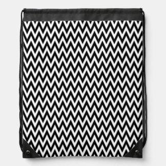 Modern Black and White Chevron Stripes Drawstring Bag