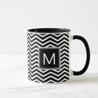 Modern Black and White Chevrons With Monogram Mug