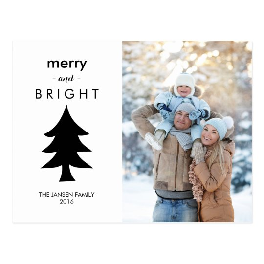Modern Black and White Christmas Tree with Photo