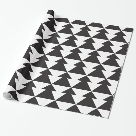 Modern Black and White Christmas Tree Wrapping Paper