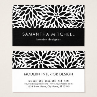 Modern Black And White Dahlias Business Card