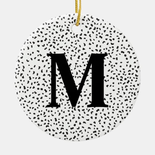 Modern Black and White Dalmatian Spots Christmas Ornament