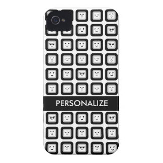Modern Black and White Emoticon Tiles With Name iPhone 4 Covers