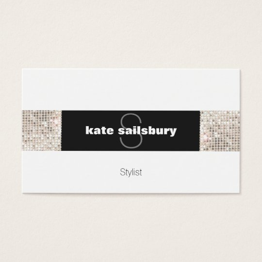 Modern Black and White FAUX Silver Sequin Monogram