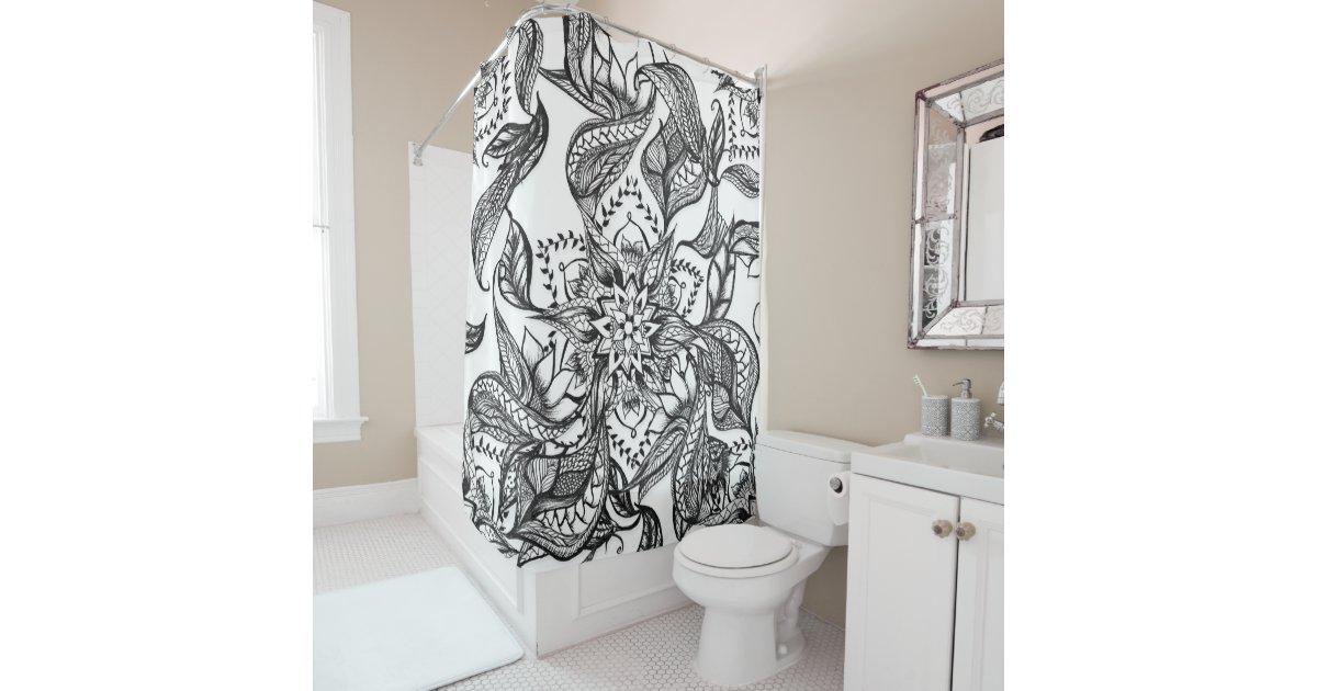 Modern Black And White Floral Mandala Illustration Shower Curtain Zazzle