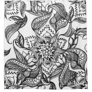 Modern black and white floral mandala illustration shower curtain