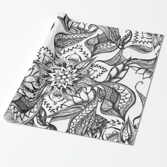 Modern black and white floral mandala illustration wrapping