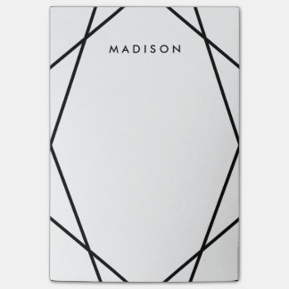 Modern Black and White Geometric Pattern Post-it Notes