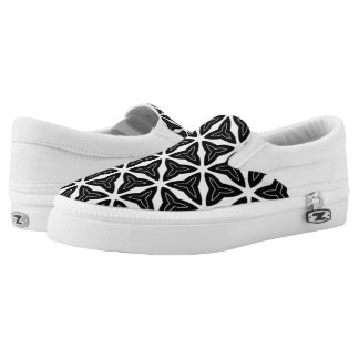 Modern Black and White Geometric Slip On Shoes