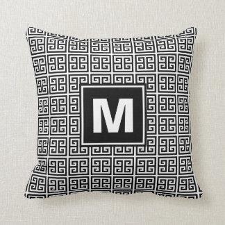 Modern Black and White Greek Key Monogram Cushion