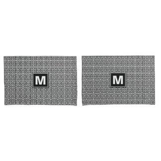 Modern Black and White Greek Key Monogram Pillowcase