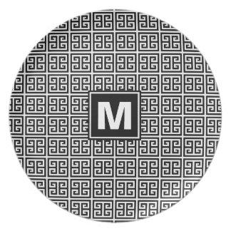 Modern Black and White Greek Key Monogram Plate