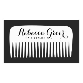 Modern Black and White Hairstylist Comb Hair Salon Pack Of Standard Business Cards