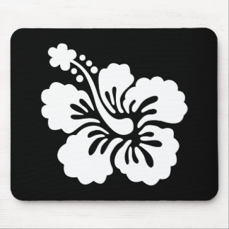 Modern Black and White Hibiscus Mouse Mat