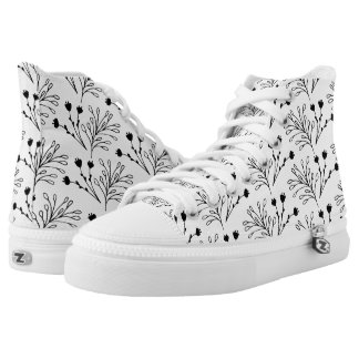 Modern black and white high top sneakers